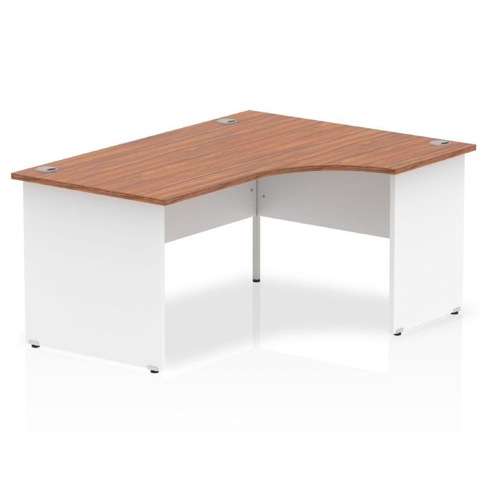 1600mm|Right Hand Crescent Desk|White Panel End|Beech, Maple, Oak & Light Walnut Finish